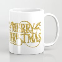 merry christmas Mugs featuring Merry Christmas by Better HOME