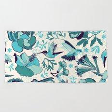 Hummingbird summerdance, Blue Beach Towel