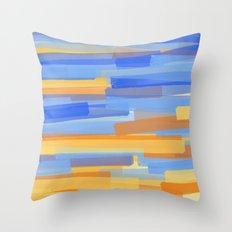 Orange and Blue Stripes Throw Pillow