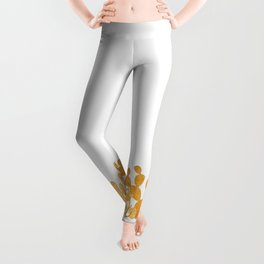 Golden cactus garden on white Leggings