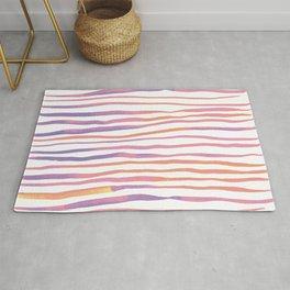 Irregular watercolor lines - pastel pink and ultraviolet Rug