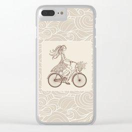 Bike Girl Clear iPhone Case