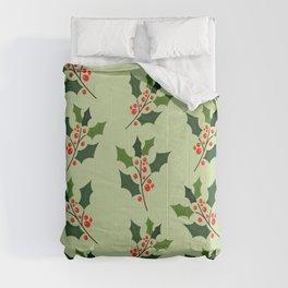 Christmas holly leaf pattern digital art  Comforters