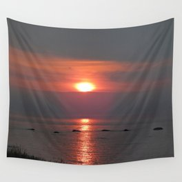 Ste-Anne-Des-Monts Sunset on the Sea Wall Tapestry