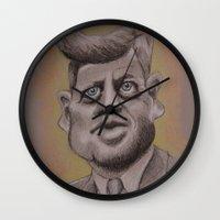 jfk Wall Clocks featuring JFK by chadizms