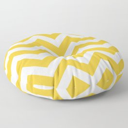 Saffron - yellow color - Zigzag Chevron Pattern Floor Pillow