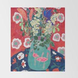 Wild Flowers in Flamingo Vase Floral Painting Throw Blanket