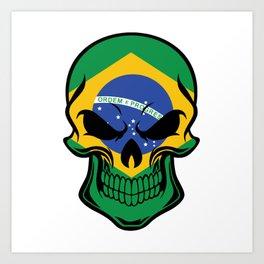 Brazilian Flag Skull Art Print