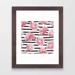 Simply Drawn Stripes and Roses Framed Art Print