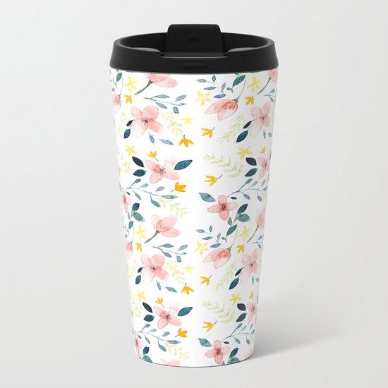 Watercolor Florals Metal Travel Mug