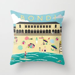 Bondi Beach Vintage Style Art Print Throw Pillow