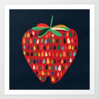 strawberry Art Prints featuring Strawberry by Picomodi