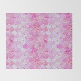 Pink Pearlescent Mermaid Scales Pattern Throw Blanket
