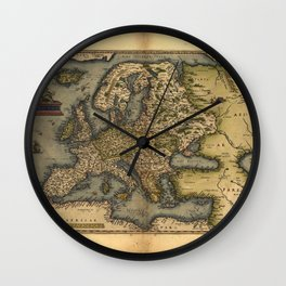 Antique Map of Britain, by Abraham Ortelius, circa 1570 Wall Clock