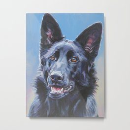 black German Shepherd dog portrait art from an original painting by L.A.Shepard Metal Print