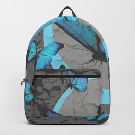 SHABBY CHIC  NEON BLUE BUTTERFLIES  & CHARCOAL GREY  N MOD Backpack