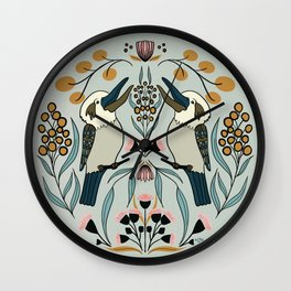 Australian Themed Circular Folk Art Featuring The Kookaburra Bird And Fall Colors  Wall Clock