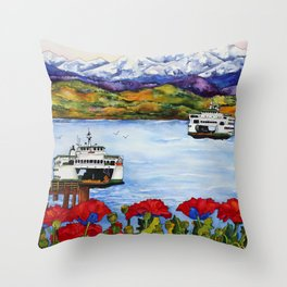 Northwest Commute with Ferry Boats Throw Pillow