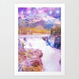 Waterfall and Mountain Art Print