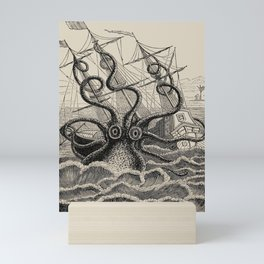 """The octopus; or, The """"Devil-fish"""" - Henry Lee - 1875 Giant Octopus Sinking Ship Mini Art Print"""