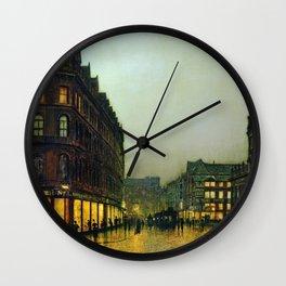 Boar Lane, Leeds, England Cityscape by John Atkinson Grimshaw Wall Clock