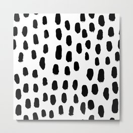 Spots black and white minimal dots pattern basic nursery home decor patterns Metal Print