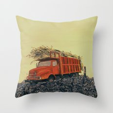 sugar cane and truck on fire Throw Pillow