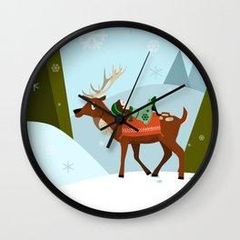 Christmas deer and elf Wall Clock