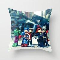 avenger Throw Pillows featuring Avenger - Vengadores by Marivi Troy