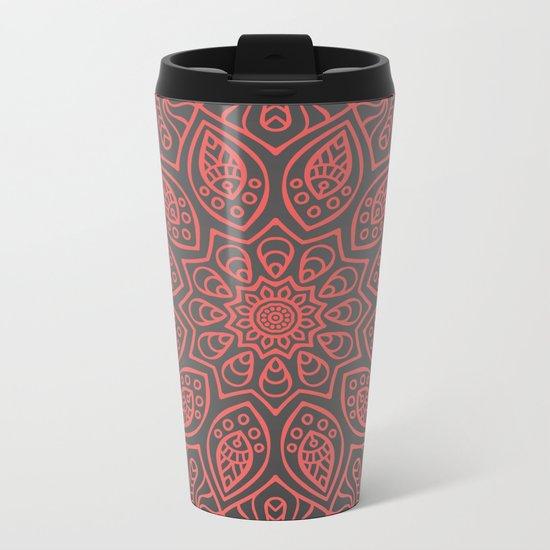 VELVET GREY MANDALA Metal Travel Mug