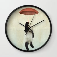 teal Wall Clocks featuring Pandachute by Vin Zzep