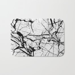 Dusty White Marble - Textured Black And White Bath Mat