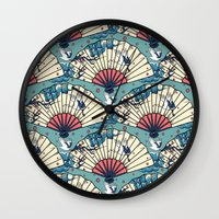 fantasy Wall Clocks featuring Oriental FanTasy by Paula Belle Flores