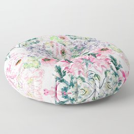 Boho chic watercolor pink floral hand paint Floor Pillow