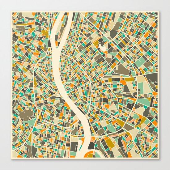 BUDAPEST MAP Canvas Print