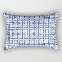Squares and triangles pattern blue Rectangular Pillow