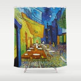 """Vincent van Gogh """"Cafe Terrace, Place du Forum, Arles"""" Shower Curtain"""