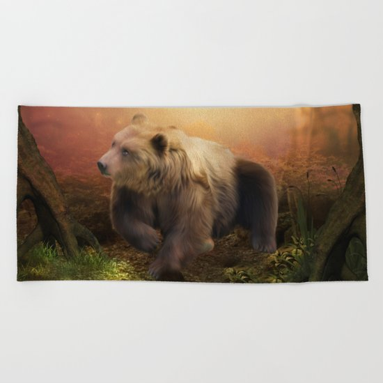 Awesome bear in the night Beach Towel