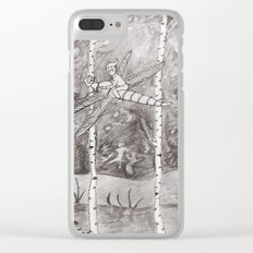 invitation to happiness - harlequin on dragon fly Clear iPhone Case