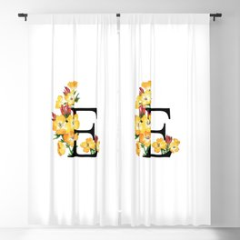 Letter 'E' Evening Primrose Flower Monogram Typography Blackout Curtain
