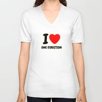 one direction V-neck T-shirts featuring ONE DIRECTION by Bilqis