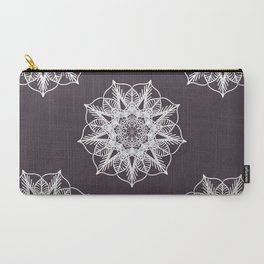 Dark Purple and White Mandala Carry-All Pouch
