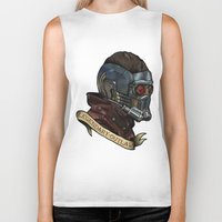 star lord Biker Tanks featuring Star Lord Legendary Outlaw by Victoria Jennings