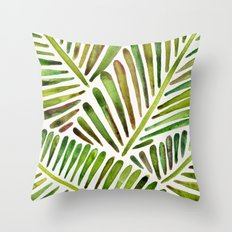 Tropical Banana Leaves – Green Palette Throw Pillow
