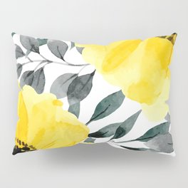 Big yellow watercolor flowers Pillow Sham