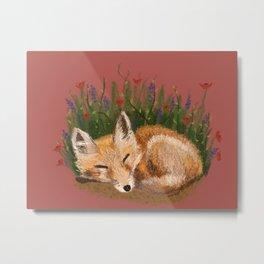 Sleeping Fox Kit Metal Print