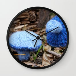 Knit Blue Milky Cap Mushroom Wall Clock