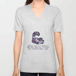 Alice floral designs - Cheshire cat entirely bonkers Unisex V-Neck
