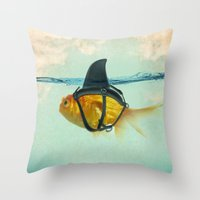 blue Throw Pillows featuring Brilliant DISGUISE by Vin Zzep