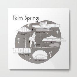 Palm Springs Map - Grey Metal Print